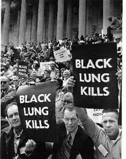Coal Miners protesting for Black Lung benefits in Washington, DC, in the late 1960s